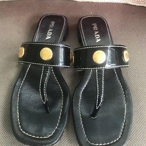 Prada black thong coin slides flat sandals 36 6